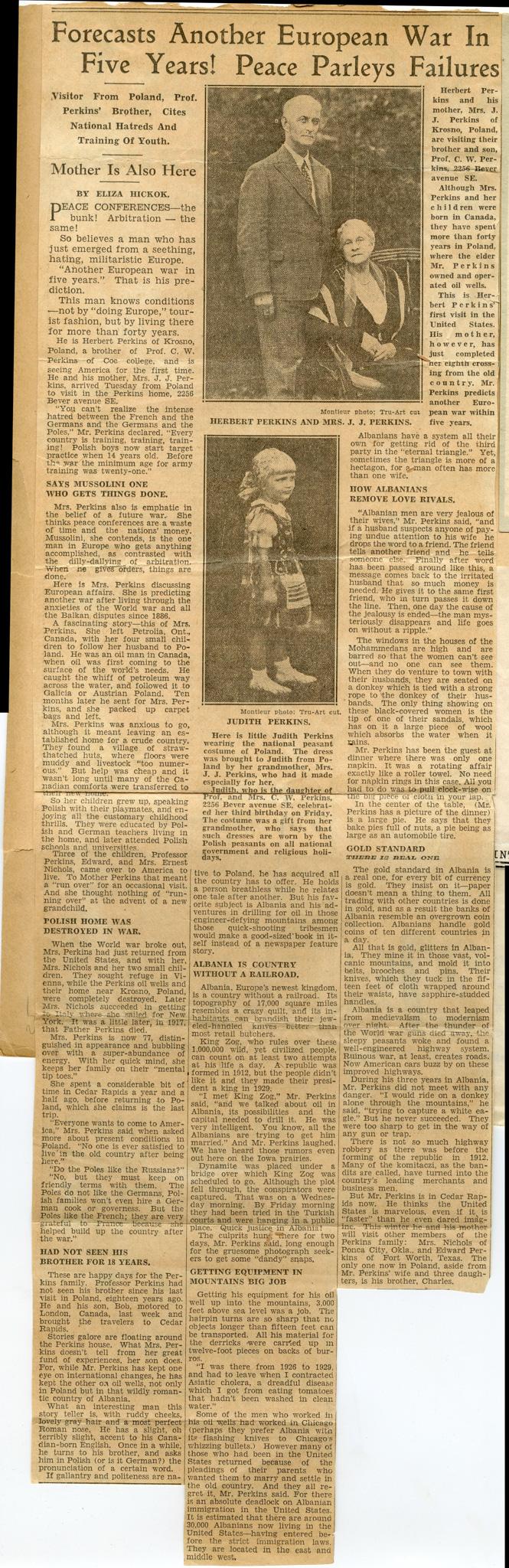 Herbert Perkins Newspaper Article