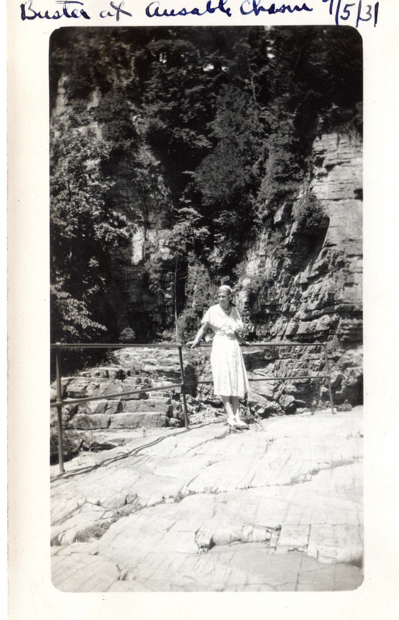 """Titled """"Buster at Ausable Chasm"""", dated July 1931. Located in the Adirondacks"""