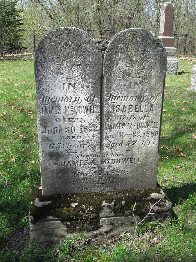 James & Isabella McDowell Gravestone with son James