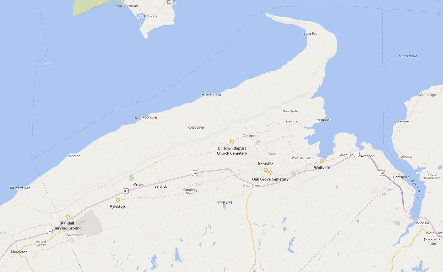 Kings County Map showing Perkins Landmarks