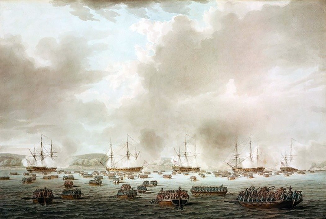 Landing at Kips Bay by Cleveley, 1777