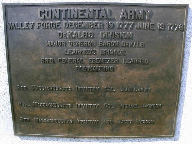 Plaque at lodging site of Learned's Brigade in Valley Forge