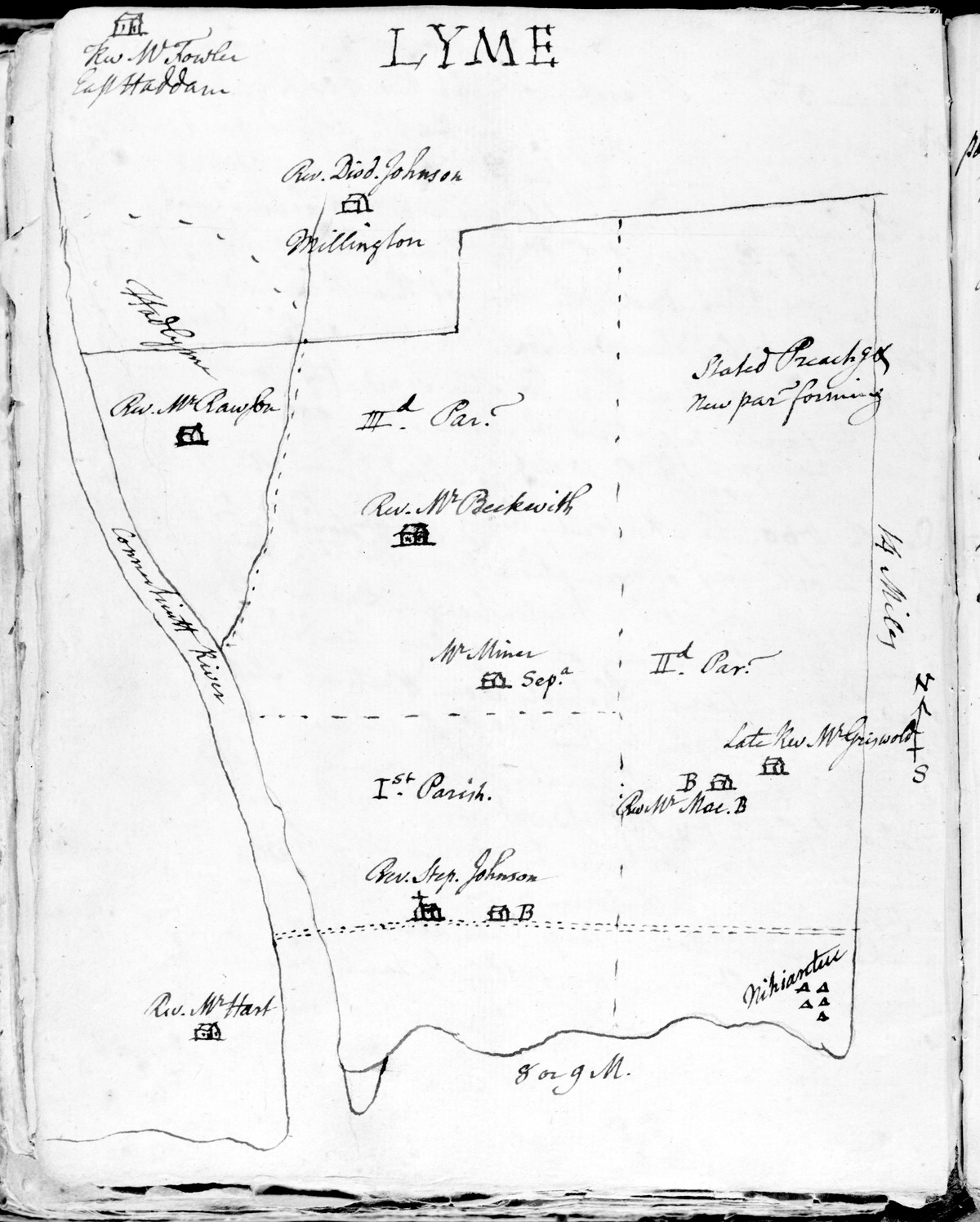1768 Map of Old Lyme Parishes by Ezra Stiles
