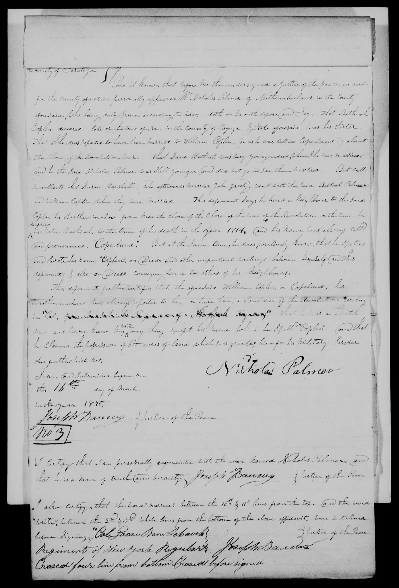 Nicholas Palmer affidavit on 16 Mar 1840