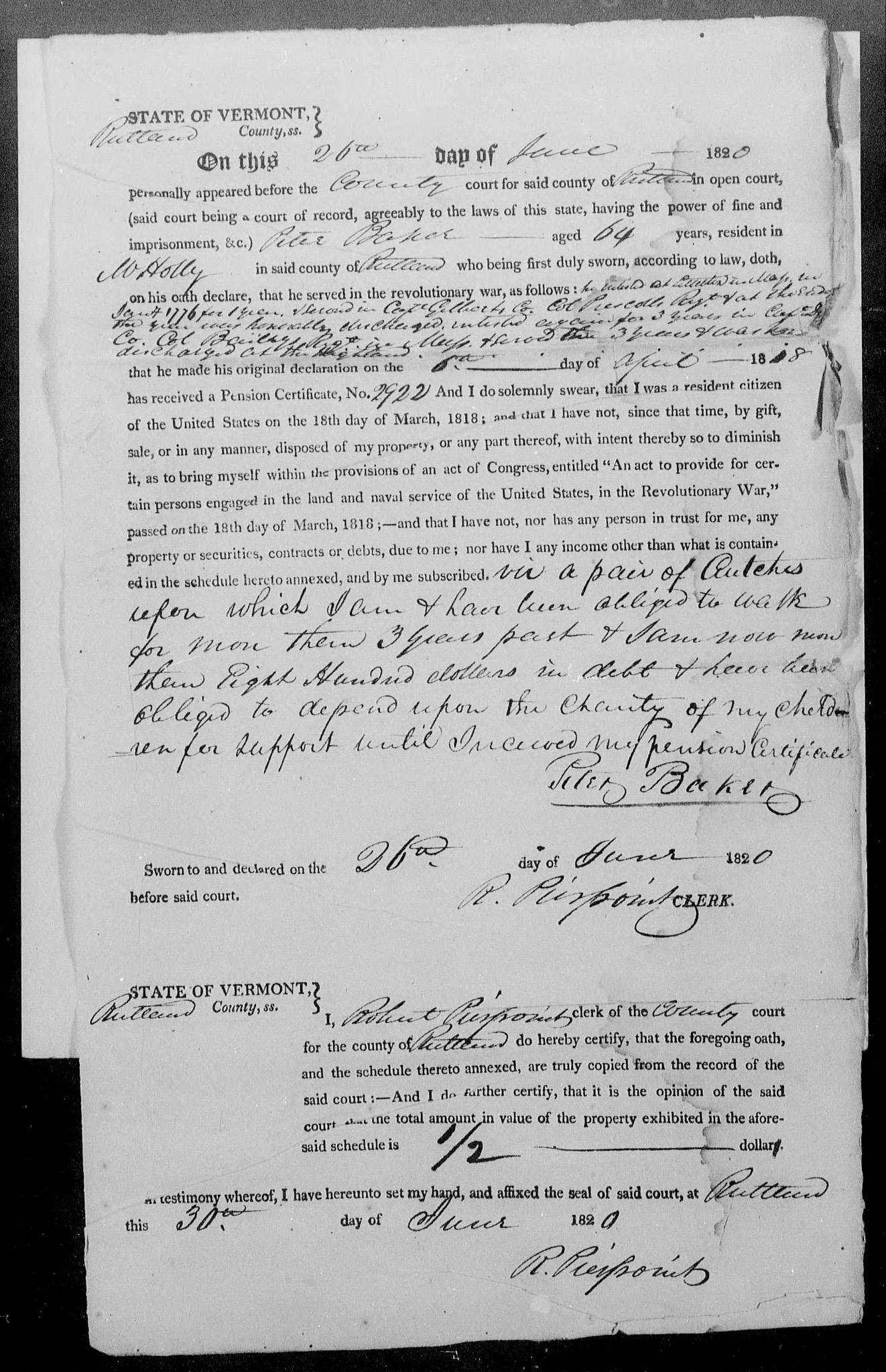 Peter Baker Rev War Pension File, pg 8