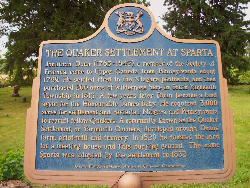 Quarker Settlement Sign in Sparta, Elgin County