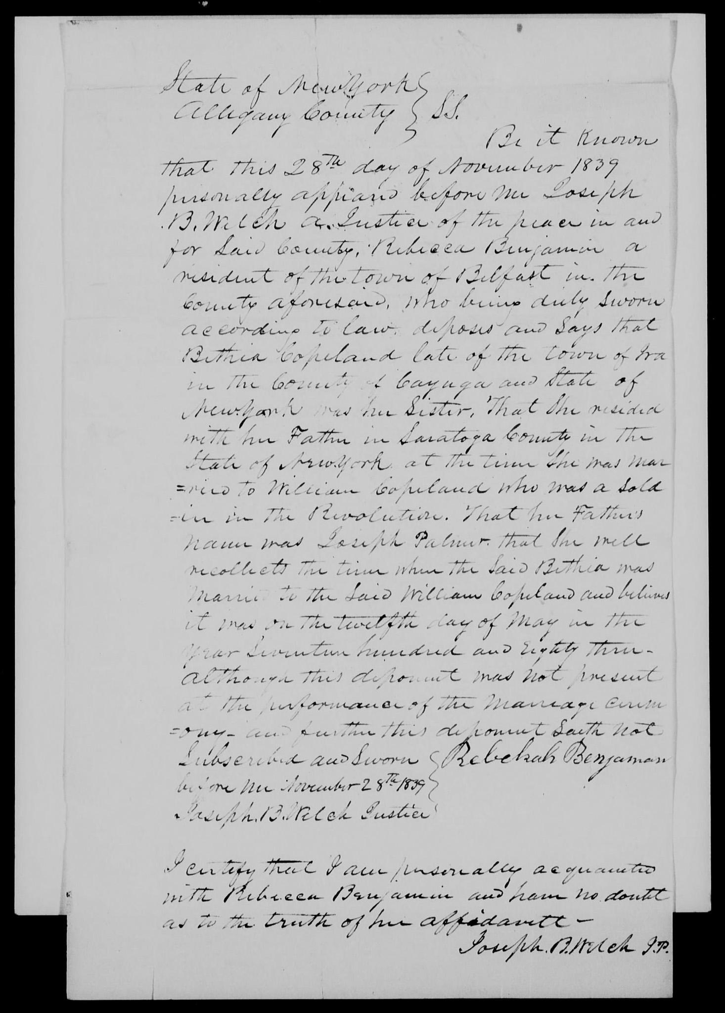 Rebekah Benjamin affidavit on 28 Nov 1839
