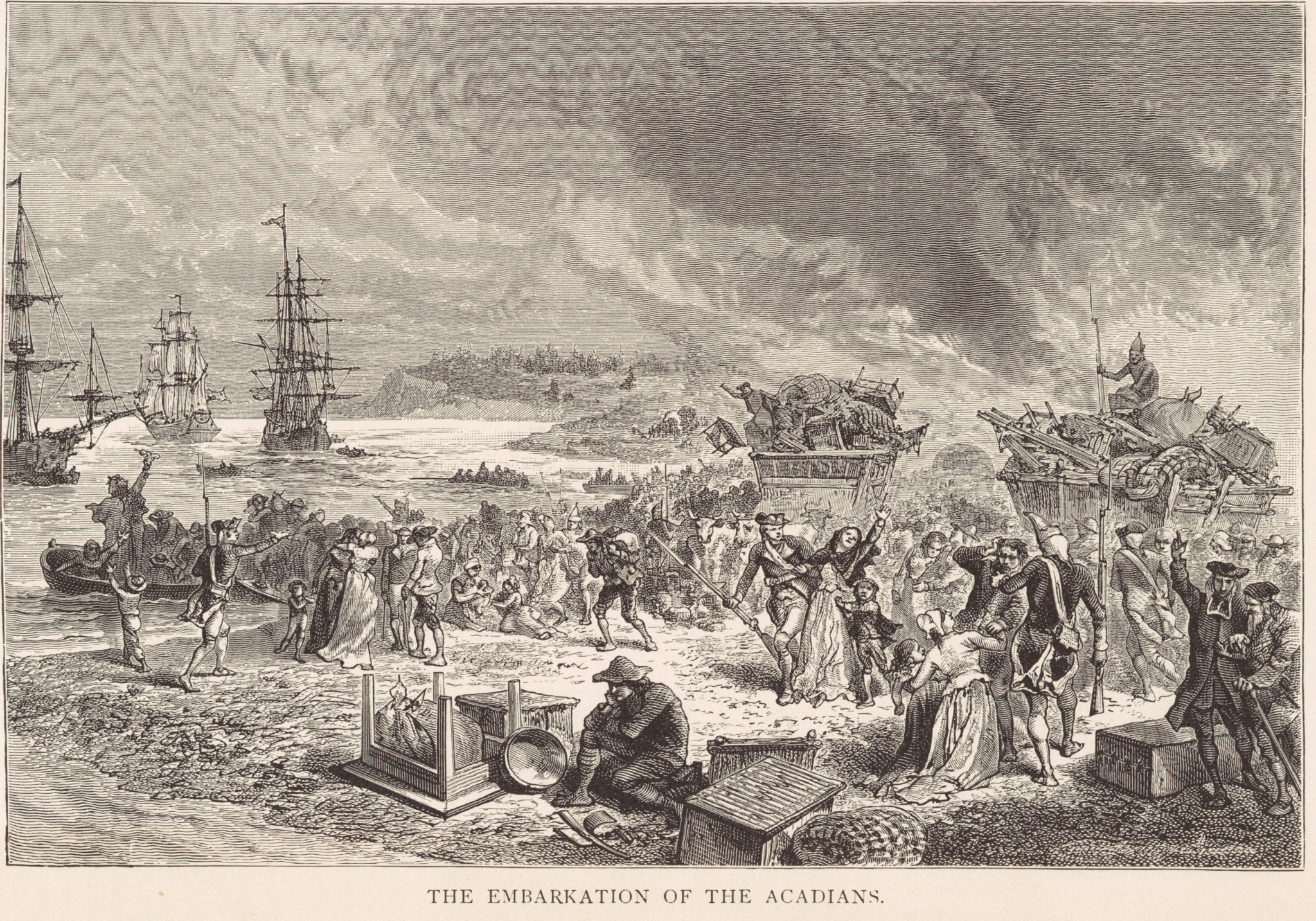 The Embarkation of the Acadians by Emile Bayard, 1881