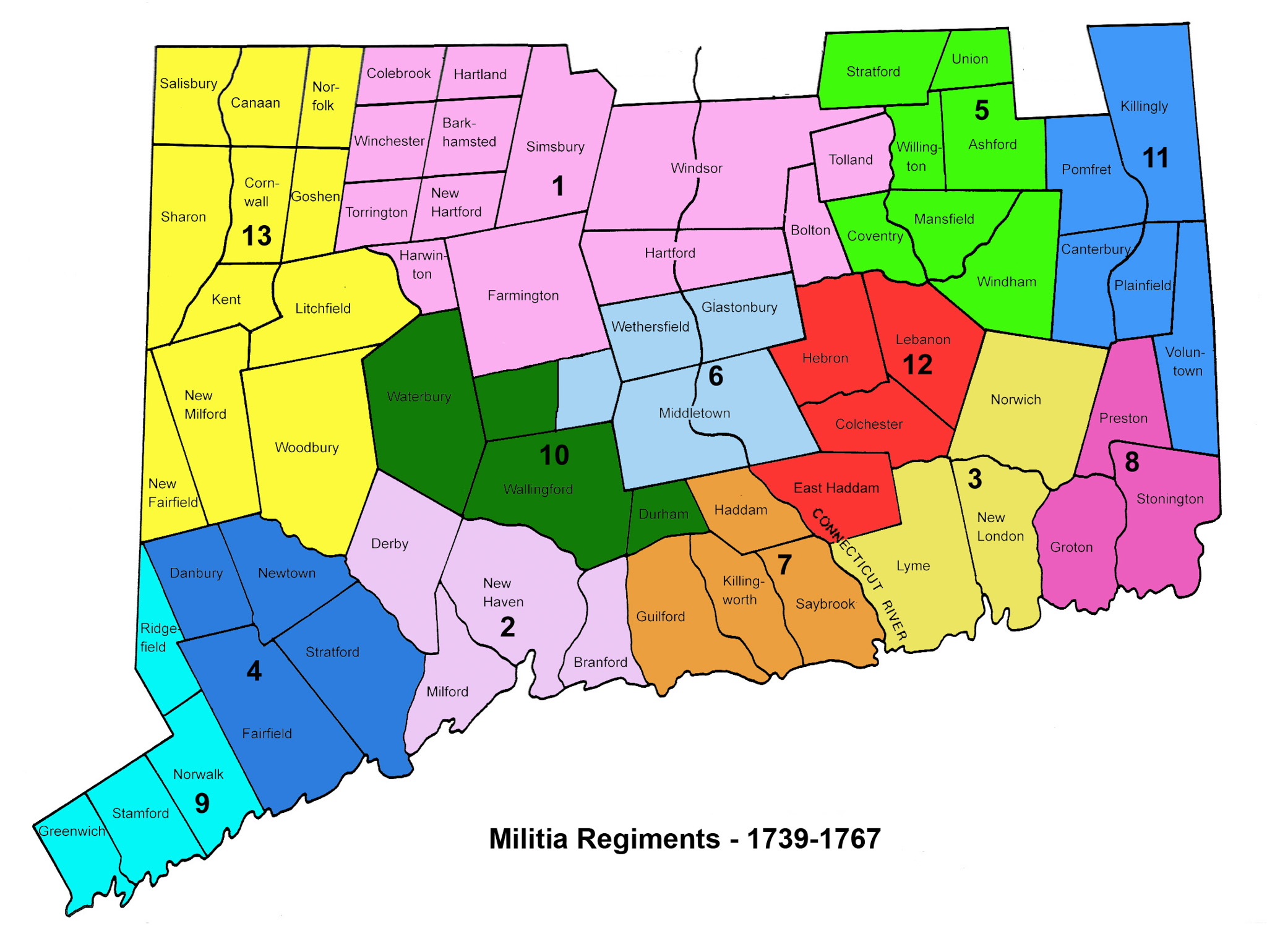 Trained Bands in Connecticut Military, 1739-1767