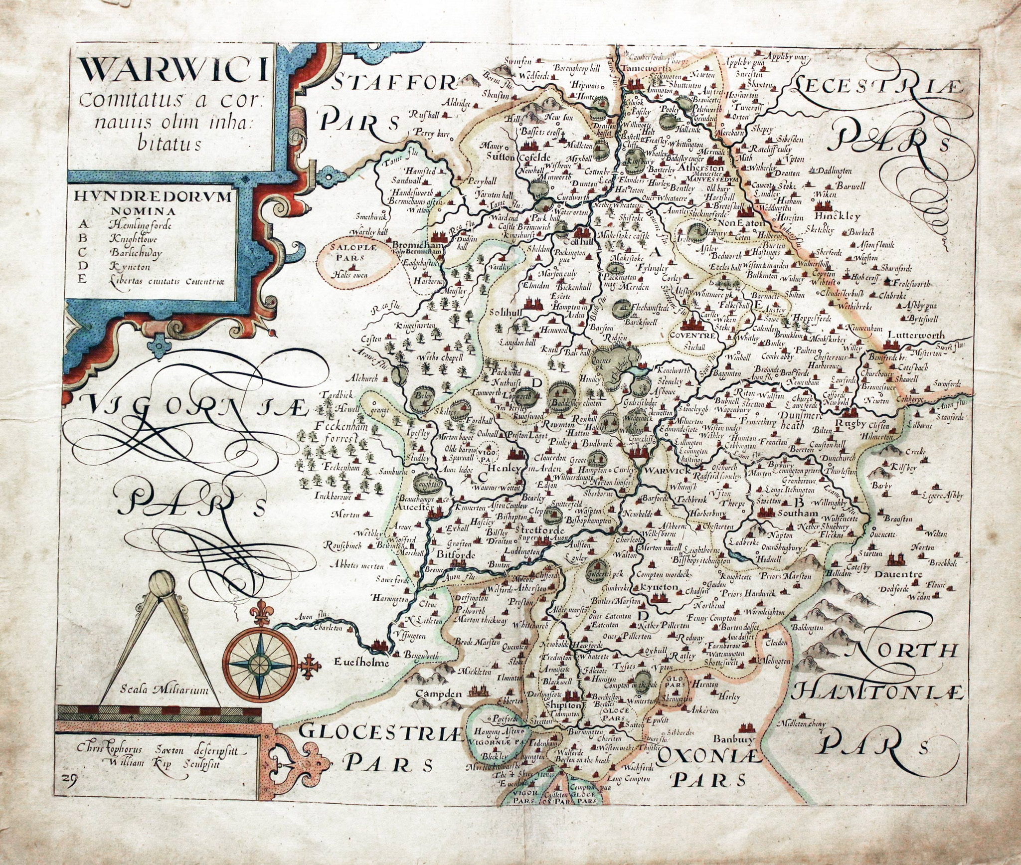 Map of Warwickshire in 1610
