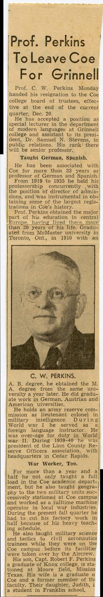Wilfred Perkins Newspaper Article