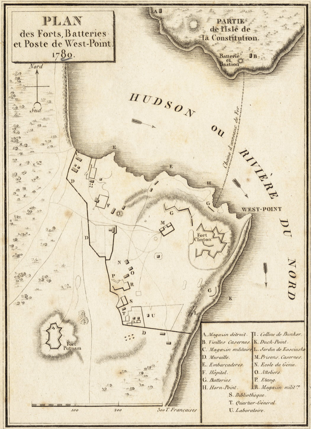 1780 Map of West Point by P Didot